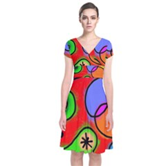 Digitally Painted Patchwork Shapes With Bold Colours Short Sleeve Front Wrap Dress