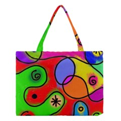 Digitally Painted Patchwork Shapes With Bold Colours Medium Tote Bag