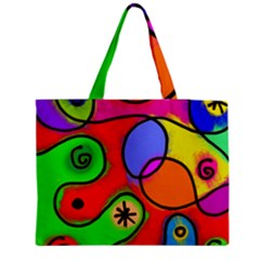 Digitally Painted Patchwork Shapes With Bold Colours Medium Zipper Tote Bag