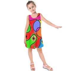 Digitally Painted Patchwork Shapes With Bold Colours Kids  Sleeveless Dress