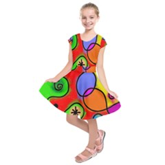 Digitally Painted Patchwork Shapes With Bold Colours Kids  Short Sleeve Dress