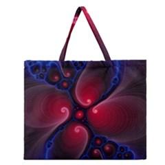 Color Fractal Pattern Zipper Large Tote Bag