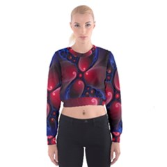 Color Fractal Pattern Women s Cropped Sweatshirt
