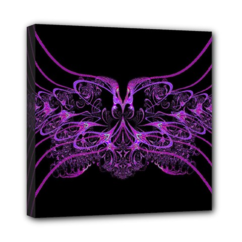 Beautiful Pink Lovely Image In Pink On Black Mini Canvas 8  X 8