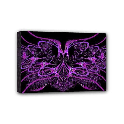 Beautiful Pink Lovely Image In Pink On Black Mini Canvas 6  x 4