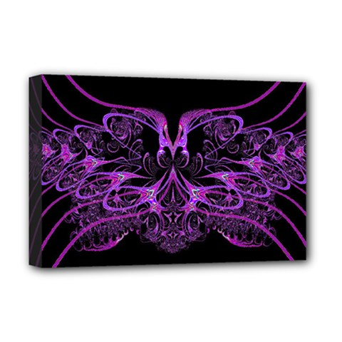 Beautiful Pink Lovely Image In Pink On Black Deluxe Canvas 18  X 12