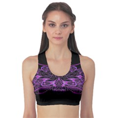 Beautiful Pink Lovely Image In Pink On Black Sports Bra