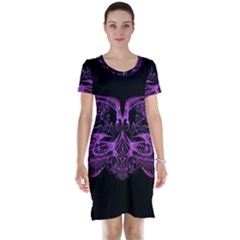 Beautiful Pink Lovely Image In Pink On Black Short Sleeve Nightdress