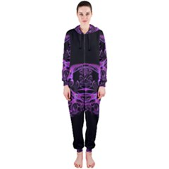 Beautiful Pink Lovely Image In Pink On Black Hooded Jumpsuit (Ladies)