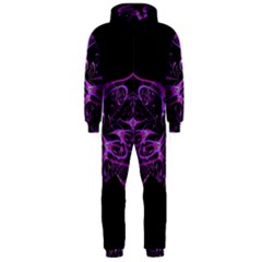 Beautiful Pink Lovely Image In Pink On Black Hooded Jumpsuit (Men)