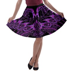 Beautiful Pink Lovely Image In Pink On Black A-line Skater Skirt