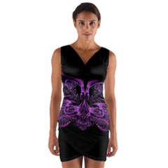 Beautiful Pink Lovely Image In Pink On Black Wrap Front Bodycon Dress