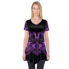 Beautiful Pink Lovely Image In Pink On Black Short Sleeve Tunic
