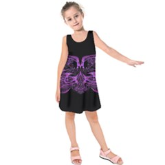 Beautiful Pink Lovely Image In Pink On Black Kids  Sleeveless Dress
