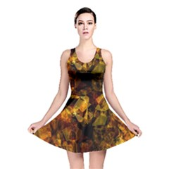 Autumn Colors In An Abstract Seamless Background Reversible Skater Dress