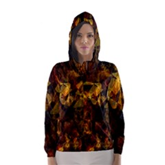 Autumn Colors In An Abstract Seamless Background Hooded Wind Breaker (women)
