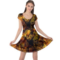 Autumn Colors In An Abstract Seamless Background Cap Sleeve Dresses