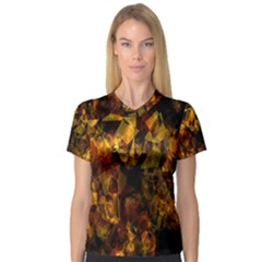 Autumn Colors In An Abstract Seamless Background Women s V Neck Sport Mesh Tee