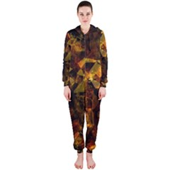 Autumn Colors In An Abstract Seamless Background Hooded Jumpsuit (ladies)