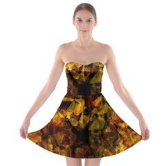 Autumn Colors In An Abstract Seamless Background Strapless Bra Top Dress