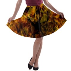 Autumn Colors In An Abstract Seamless Background A Line Skater Skirt