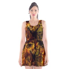 Autumn Colors In An Abstract Seamless Background Scoop Neck Skater Dress