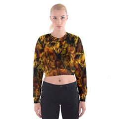 Autumn Colors In An Abstract Seamless Background Women s Cropped Sweatshirt