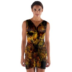 Autumn Colors In An Abstract Seamless Background Wrap Front Bodycon Dress