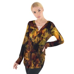 Autumn Colors In An Abstract Seamless Background Women s Tie Up Tee