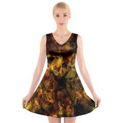 Autumn Colors In An Abstract Seamless Background V-Neck Sleeveless Skater Dress