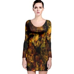 Autumn Colors In An Abstract Seamless Background Long Sleeve Velvet Bodycon Dress