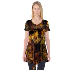 Autumn Colors In An Abstract Seamless Background Short Sleeve Tunic