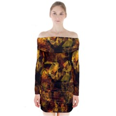 Autumn Colors In An Abstract Seamless Background Long Sleeve Off Shoulder Dress