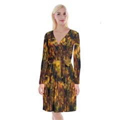 Autumn Colors In An Abstract Seamless Background Long Sleeve Velvet Front Wrap Dress