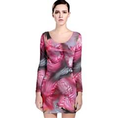 Raspberry Delight Long Sleeve Velvet Bodycon Dress