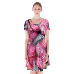 Raspberry Delight Short Sleeve V-neck Flare Dress