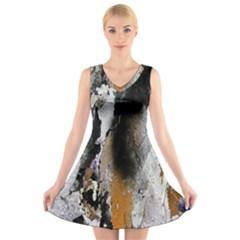 Abstract Graffiti Background V-Neck Sleeveless Skater Dress