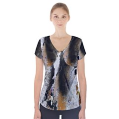 Abstract Graffiti Background Short Sleeve Front Detail Top