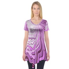 Light Pattern Abstract Background Wallpaper Short Sleeve Tunic