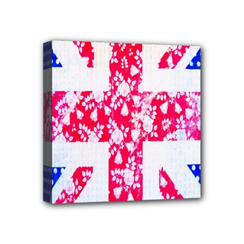 British Flag Abstract British Union Jack Flag In Abstract Design With Flowers Mini Canvas 4  X 4