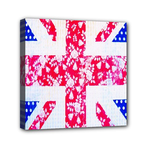 British Flag Abstract British Union Jack Flag In Abstract Design With Flowers Mini Canvas 6  x 6