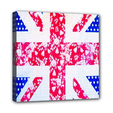 British Flag Abstract British Union Jack Flag In Abstract Design With Flowers Mini Canvas 8  x 8