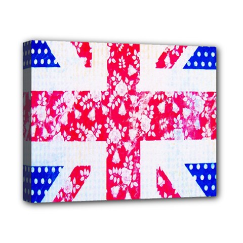 British Flag Abstract British Union Jack Flag In Abstract Design With Flowers Canvas 10  x 8