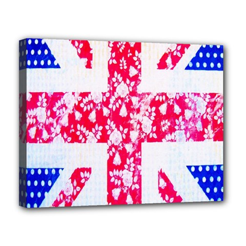 British Flag Abstract British Union Jack Flag In Abstract Design With Flowers Canvas 14  x 11