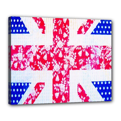 British Flag Abstract British Union Jack Flag In Abstract Design With Flowers Canvas 20  x 16