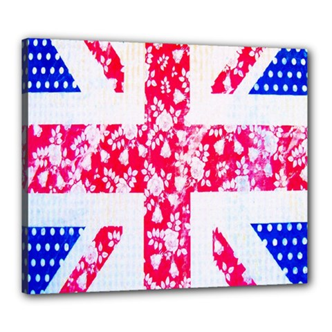 British Flag Abstract British Union Jack Flag In Abstract Design With Flowers Canvas 24  x 20