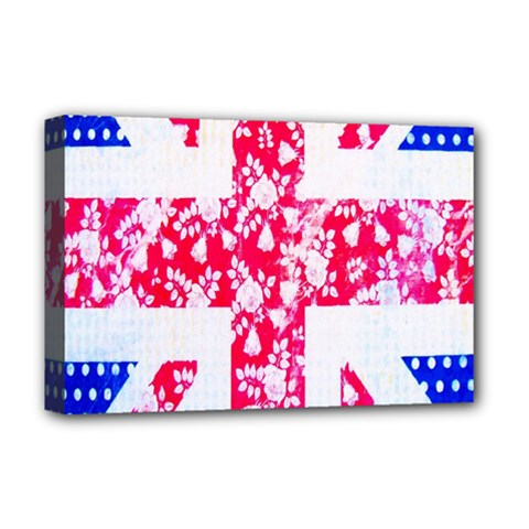 British Flag Abstract British Union Jack Flag In Abstract Design With Flowers Deluxe Canvas 18  x 12