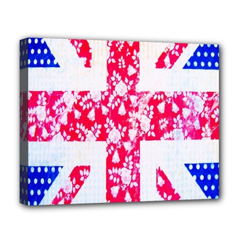 British Flag Abstract British Union Jack Flag In Abstract Design With Flowers Deluxe Canvas 20  X 16