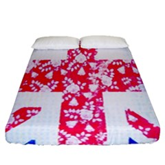 British Flag Abstract British Union Jack Flag In Abstract Design With Flowers Fitted Sheet (queen Size)
