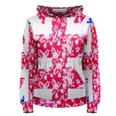 British Flag Abstract British Union Jack Flag In Abstract Design With Flowers Women s Pullover Hoodie